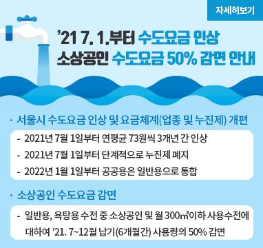 소상공인 수도요금 감면 안내 안내 모집기간 2021년7월1일 ~ 2022년3월31일