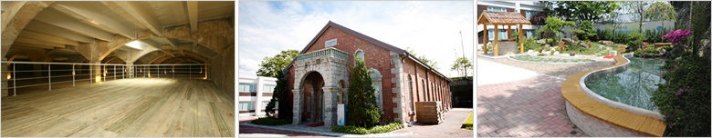The front view of a Main Building of the Waterworks Museum